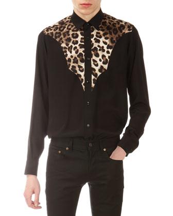 Silk Leopard-Print & Solid Western Shirt