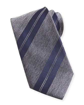 Striped Herringbone Tie, Charcoal