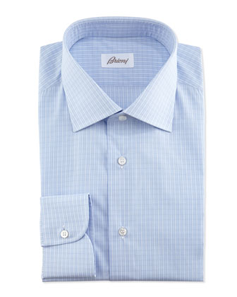 Graph-Check Dress Shirt, Light Blue