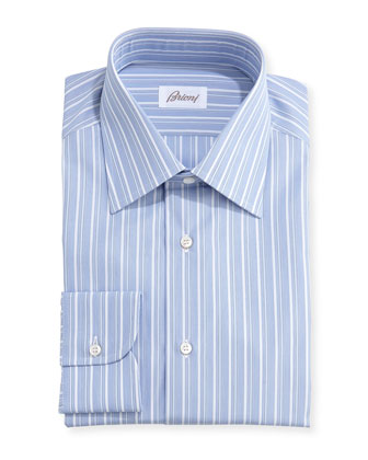 Blue Striped Shirt, Blue/White