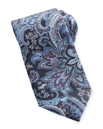 Large-Paisley Silk Tie, Blue