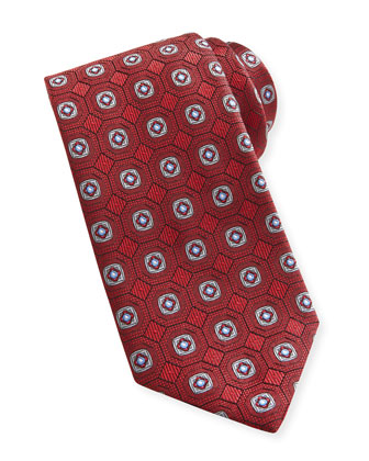 Geo-Medallion Silk Tie, Burgundy