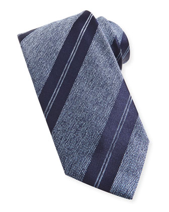Striped Herringbone Tie, Blue