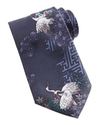 Crane Printed Silk Tie, Blue