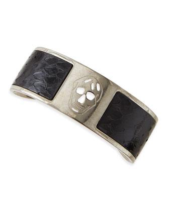 Men's Skull Snakeskin Cuff Bracelet, Black