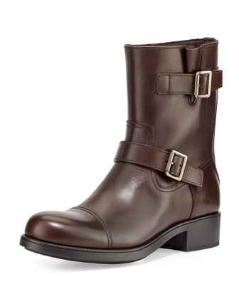 Double-Buckle Moto Boot