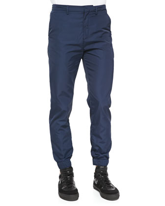 Tech-Fabric Jogging Pants, Navy