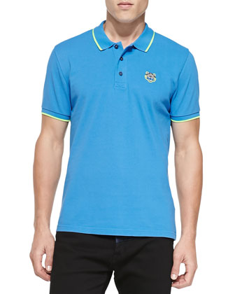 Tipped Tiger Polo, Blue/Lime