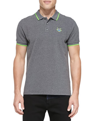 Tipped Tiger Polo, Gray/Lime