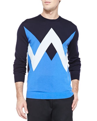 Twin Peaks Crewneck Sweater, Navy