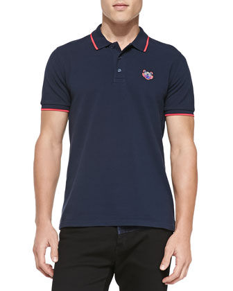 Tipped Tiger Polo, Navy/Pink