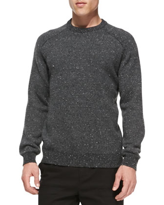 Donegal Cashmere-Blend Crewneck Sweater, Charcoal
