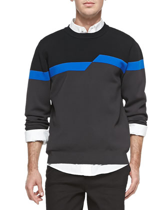 Broken Stripe Sweatshirt, Black/Gray