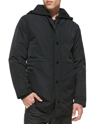 Baseball Parka Jacket with Removable Hood, Black