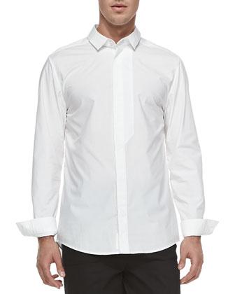 Poplin Fly-Front Shirt, White