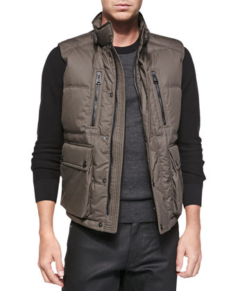 Armstrong Down Vest with Fur Trim, Olive Green