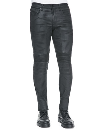 Eastham Resin-Coated Skinny Jeans, Black