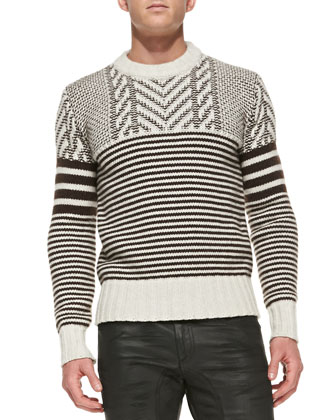 Burstead Stripe Crewneck Sweater, Dark Plum