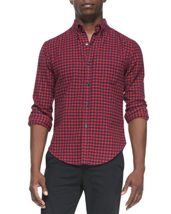 Check Button-Down Shirt, Red Multi
