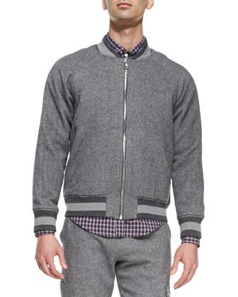 Brushed-Herringbone Baseball Jacket, Gray