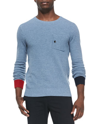 Birdseye-Knit Crewneck Sweater, Light Blue