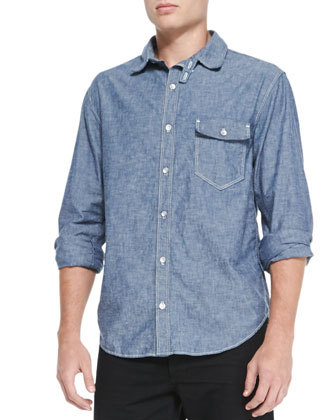 Button-Down Chambray Shirt, Indigo