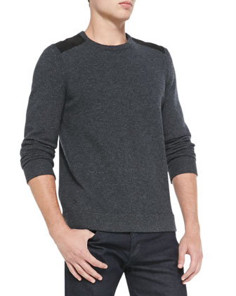 Zeeland Shoulder-Patch Sweater, Charcoal
