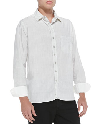 3/4-Placket Striped Woven Shirt, White
