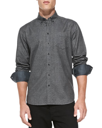 Glen Plaid Oxford Shirt, Charcoal