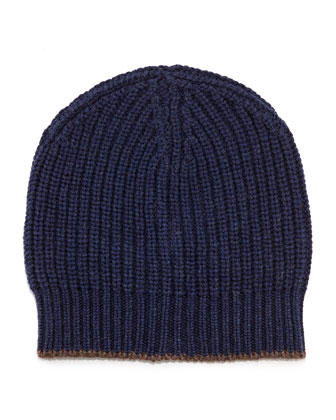 Cashmere Ribbed Hat, Marine/Cigar