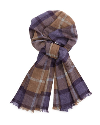 Men's Plaid Cashmere Scarf, Purple/Gray/Tan