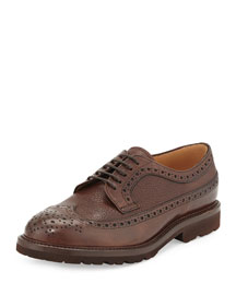 Pebbled Leather Wing-Tip Shoe