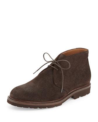 Waxed Suede Chukka Boot, Dark Brown