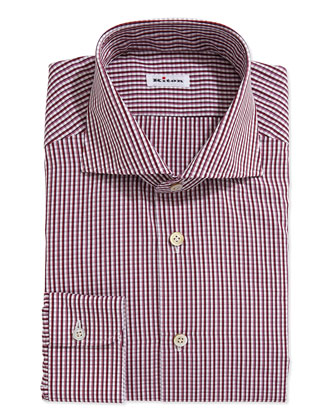 Two-Tone Plaid Dress Shirt, Red/Purple