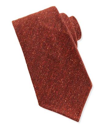 Wool-Blend Herringbone Tie, Orange