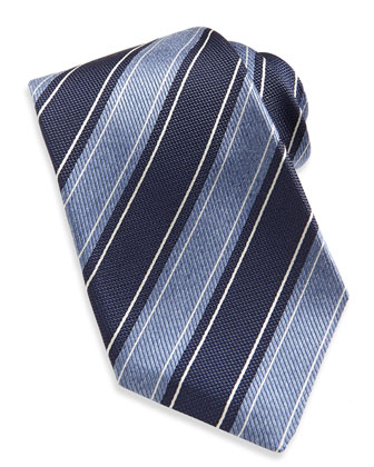 Wide Rope-Stripe Woven Tie, Navy/Blue
