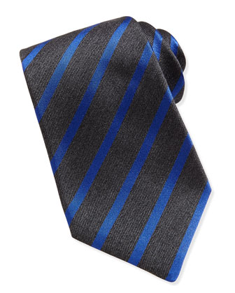Striped Silk Tie, Gray/Blue