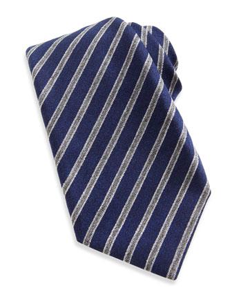 Wool-Silk Stripe Tie, Navy/Gray