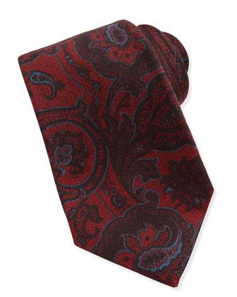 Paisley Wool/Silk Tie, Burgundy/Blue