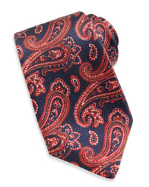 Large-Paisley Textured Tie, Blue/Red