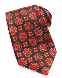 Textured Medallion-Print Tie, Brown/Red