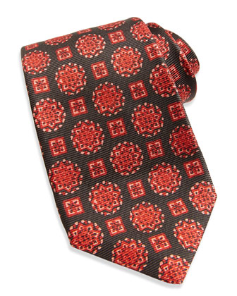 Textured Medallion-Print Tie, Brown/Red