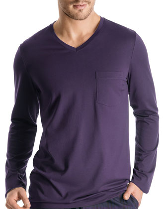 Long-Sleeve V-Neck Shirt, Purple