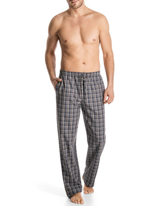 Woven Plaid Lounge Pants, Gray