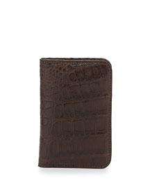 Crocodile Fold-Over Card Case, Brown