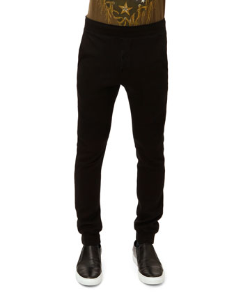 French Terry Ribbed Sweatpants, Black