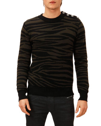 Zebra-Jacquard Sweater, Black