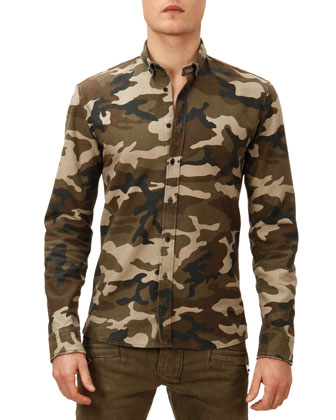 Camo-Print Button-Down Shirt, Green