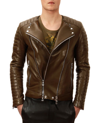 Collarless Leather Moto Jacket, Khaki