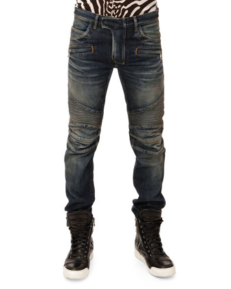 Washed Biker Jeans, Blue
